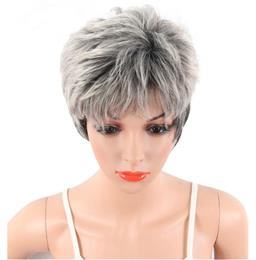 Pixie Cut Big Wave Synthetic Wigs For Women Short Gray Blonde Color Natu...