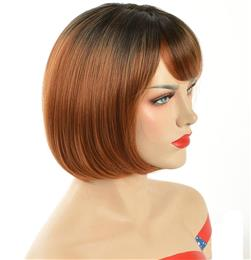Pixie Cut Ombre Red Bob Wigs For Women Short Straight Wig With Bangs High Temperature Fiber