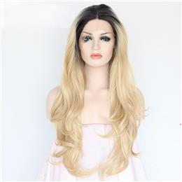 Synthetic lace front wig Heat resistant hair Black short roots ombre Lac...