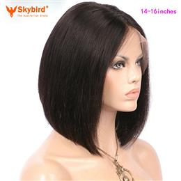 Skybird 14-16 inches Natural Color 130% Density Silky Straight Short Bob Wigs Brazilian Non-Remy Human Hair Wigs Pre Plucked lace Front Wigs