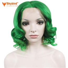 Skybird Cosplay Wigs Heat Resistant Imstyle Wavy Synthetic Green 10 Inches Lace Front Bob Wig For Women