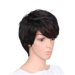 "4"" Mixed Black and Red Color High Temperature Fiber Short Curly Synthetic Hair Wigs for Women"