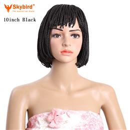 Skybird Short Bob Wig Synthetic Black Brown Braid Heat Resistant Wigs for  Women 10inch