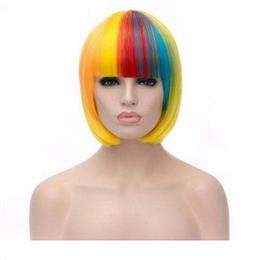 Short Straight Hair Women Wig Harajuku Peruca Cosplay Wig Mix Rainbow color 12inch