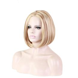 womens 30cm blonde mix wig brown short straight wigs for women fiber syn...