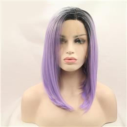 Side part black root ombre purple short bob hair synthetic lace front wig for women straight hair
