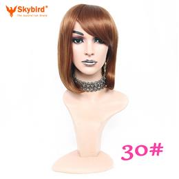 50%OFF 12inch Skybird Ladies Short Black Bob Straight Synthetic Wig With Bangs Non Lace Available Wig