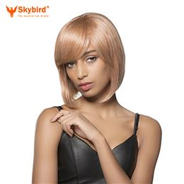 Skybird Real Human Hair Wig Short Bobo Hair Golden Flax