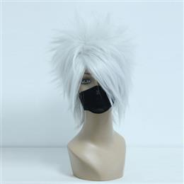 32CM Short Silvery Grey Synthetic Hair Men Party Wig
