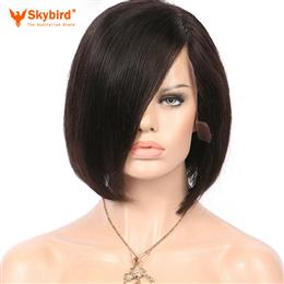Skybird 8-10 inches Brazilian Non-remy Hair Short Bob Human Hair Wigs Silky Stright Natural Color Pre Plucked lace Front Wigs