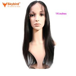 Skybird 14 inches Virgin Brazilian Straight Full Lace Human Hair Wigs For Women Pre Plucked Natural Hairline