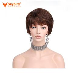 Skybird Brown Color Short Natural Wave Synthetic Hair Bob Wigs For Women