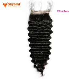 Skybird 20 inches Brazilian Deep Wave Remy Human Hair Lace Closure Free Part With Baby Hair Natural Black Color Bleached Knots