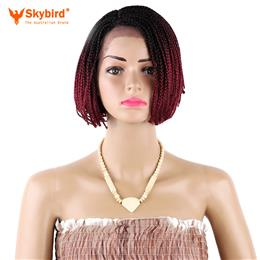 Skybrid 6 inch Short Bob Lace Front Wig Ombre Burgundy Braid Synthetic Wigs for Women with Baby Hair