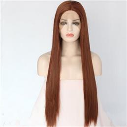 Brown Color Glueless Hand Tied Lace Part Heat resistant Hair Cosplay Party Perruque Synthetic Lace Front Wig For Girl