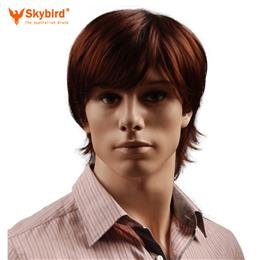 Skybird 8inch Puffy Synthetic Reddish Brown Short Mens Wig Natural Male...