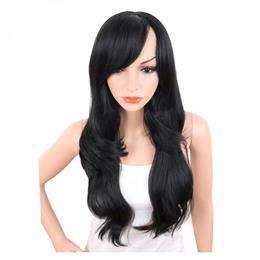 8inch Long Body Wave Synthetic Wigs For Women Natural Black Color Brazilian Hair Wigs With Bangs