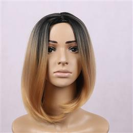 Short Bob Synthetic Wig Hair Black Ombre Brown Wigs 12inch Long