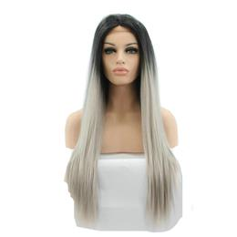 Natural grey two tone ombre long silky straight synthetic lace front wigs with black roots