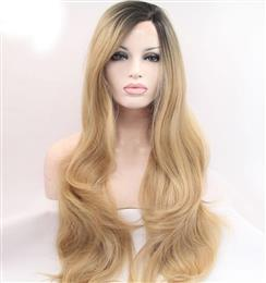 Mix Color Blonde Lace Front Wig White Women Long Blonde Dark Root Hair R...