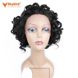 Skybird Lace Front Wig With Combs Mix Spiral Curl Heat Resistant Synthetic Hair Short Wigs For Women
