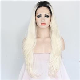 High Temperature Fiber Hair Wig Ombre Black To White Body Wave Glueless Synthetic Front Lace Wig