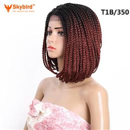 Skybird 14inch Short Braided Box Braids wig Synthetic Lace Front Wig Omb...