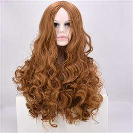 Long Curly Synthetic hair wig High Temperature Fiber Dark brown 24inch For Women wig