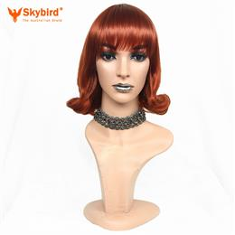 Skybird Medium Red Cosplay Wig With Bangs Wavy Bob Heat Resistant Wig Fo...