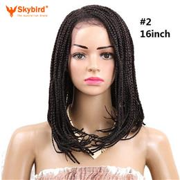 Skybird 16inch Bob Synthetic Lace Front Wig Baby hair Braided Wigs Ombre...