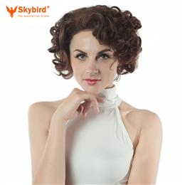 Skybird Lace Front Wig With Combs Mix Brown and Blonde Spiral Curl Short Wigs For  Women