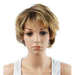 "4"" Multi Blonde and Gold Color Short Wavy Synthetic Hair Wigs for W..."