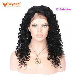Skybird 12-16 inches Curly Long Wigs For Women Natural Color Human Hair Peruvian Non-Remy Lace Front Wigs With Baby Hair