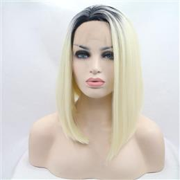 Short Bob Hair Black to Blond Lace Front Lace Wigs Synthetic Straight Heat Resistant Fiber Wigs Middle Part Hair