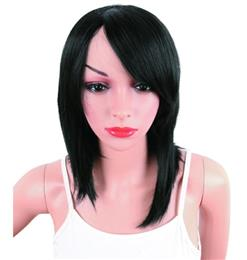Black Color Synthetic Wigs With Bangs For Women Medium Length Straight H...
