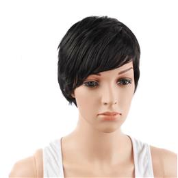"4"" Jet Black Color Synthetic High Temperature Fiber Short Pixie Cut..."