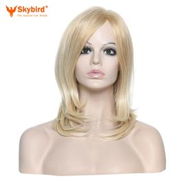 Skybird  Blonde Highlight Long Kinky Straight Wig Synthetic Hair For Women Heat Resistant Fiber Mixed Colors