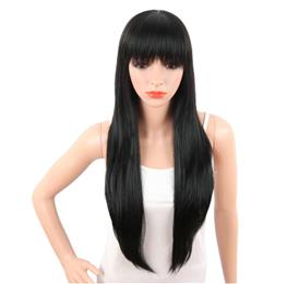 30 Inch Long Straight Black Wigs With Bangs For Women Naturally Women H...