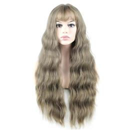 Glamorous Cosplay Party Wig Full Hair Long Curly Wig 24inch Long Grey Color Mixed