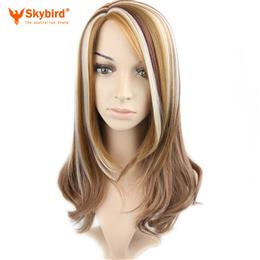 Skybird Piano Color Coffee Brown White Blonde Ombre Hair Synthetic Streak Wigs For White Women Highlight Short Haircuts