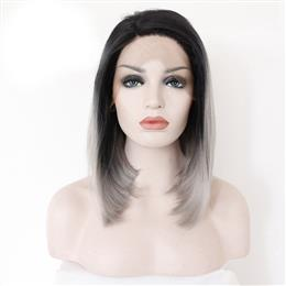 Grey Synthetic Lace Front Wig Glueless Ombre Natural Black Silver Grey Short Bob Wigs For Women