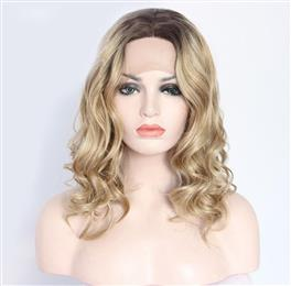 Short Women Brown Ombre Gold Blond Glueless Hand Tied Big Lace Part Synthetic Lace Front Party Wig