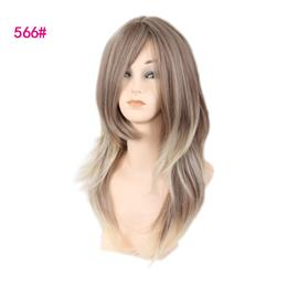 woman wigs long hair mixed brown mixed color wig heat resistant syntheti...
