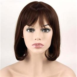 Dark Brown Synthetic Hair Thin Bang Short Wavy For Hair 12inch Long Women Wigs