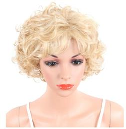 Short Kinky Curly Synthetic Women Wigs Natural Blonde Hair Wigs With Ban...