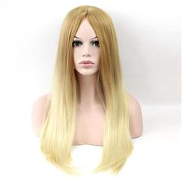 Synthetic Hair Wig Brown Blond Two Tone Ombre Long Straight Wig 60cm Fre...