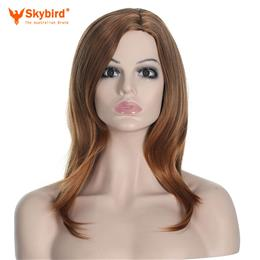 Skybird Women Ombre No Bangs Yaki Straight Brown Heat Resistant Synthetic Fake Hair Long  Wig