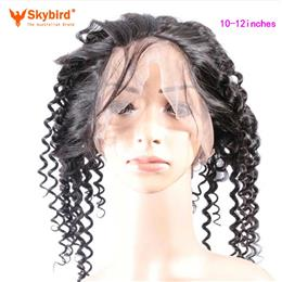 Skybird 10-12 inches Hair Brazilian Deep Wave Pre Plucked 360 Lace Frontal Closure With Baby Hair Virgin Hair