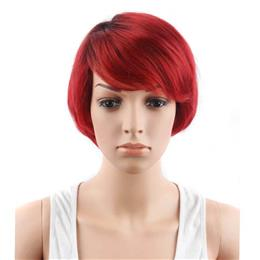 "6"" Red Color High Temperature Fiber Synthetic Hair Short Bob Wigs for Women"