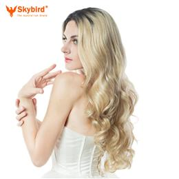 Skybird 28inch Black To Blonde Ombre Body Wave Wig With Combs Lace Frontal Wigs For Daywear Or Party